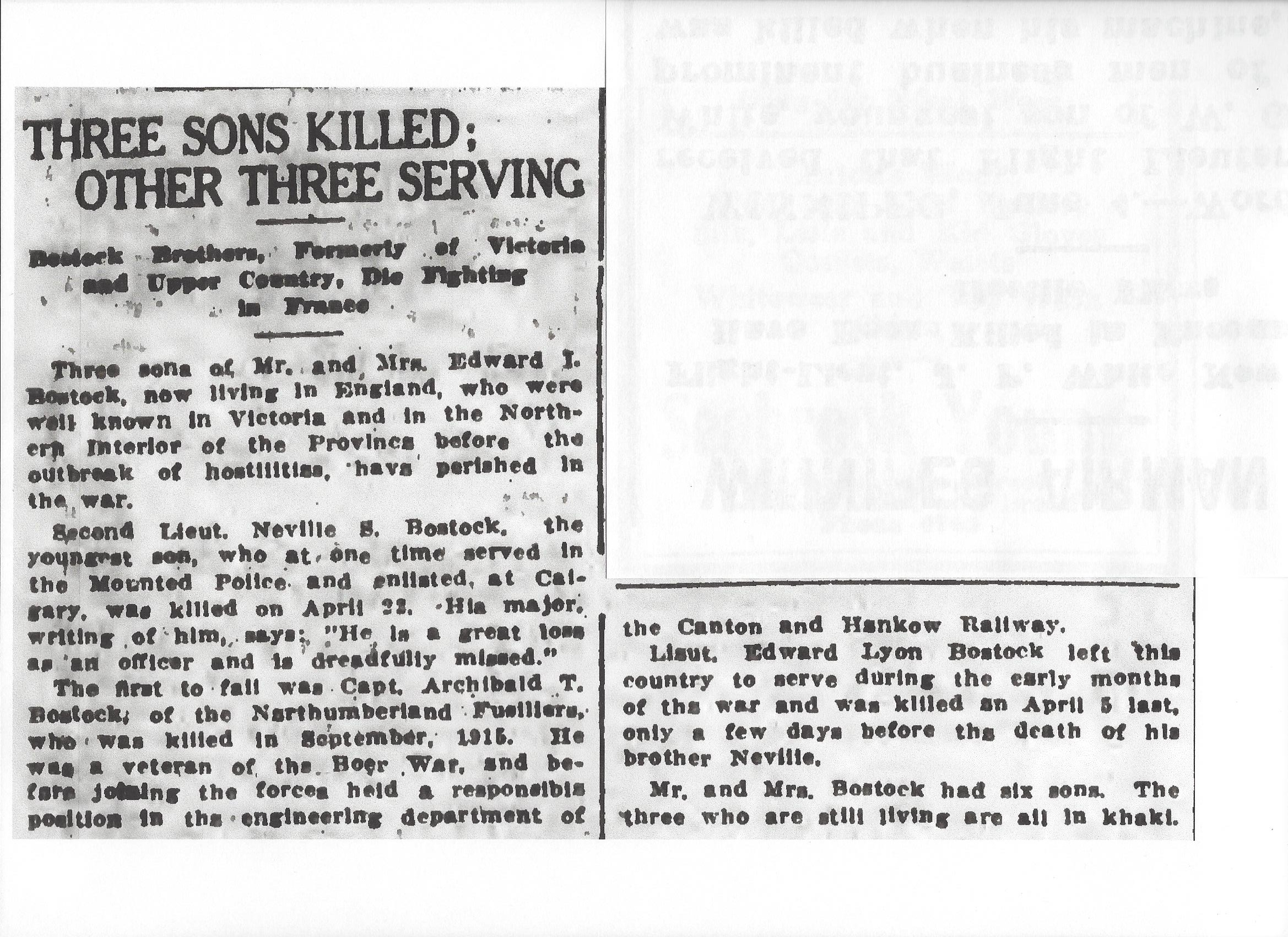 Newspaper clipping– From the Daily Colonist of June 5, 1917. Nevill's brother Archibald Bostock died on September 30, 1915 and is buried at the Etaples Military Cemetery, and his brother Edward died on April 5, 1917 and is buried at the Bray Military Cemetery, Image taken from web address of http://archive.org/stream/dailycolonist59y152uvic#page/n0/mode/1up