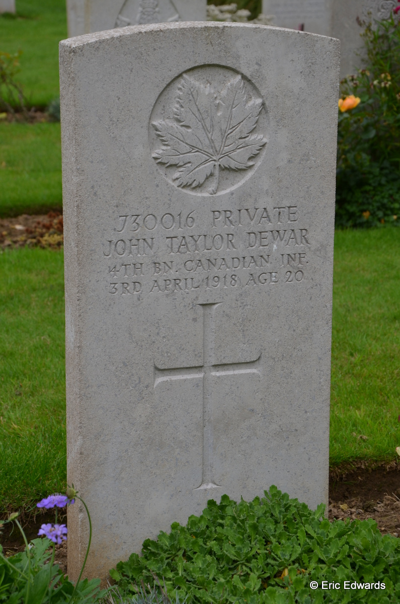 Grave marker– Marker for Private John Taylor Dewar, reg. no. 730016, 4th Battalion, C.E.F. Photo by his Great Nephew, Eric Edwards. Taken September 09, 2015 during a visit to his grave. May he Rest in Peace.