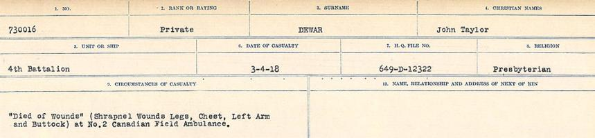 Circumstances of death registers– Source: Library and Archives Canada. CIRCUMSTANCES OF DEATH REGISTERS, FIRST WORLD WAR. Surnames: Deuel to Domoney. Microform Sequence 28; Volume Number 31829_B016737. Reference RG150, 1992-93/314, 172. Page 137 of 1084.