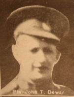 Photo of John Taylor Dewar– In memory of the men and women from the Waterloo area who went to war and did not come home. From the booklet, Peace Souvenir – Activities of Waterloo County in the Great War 1914 – 1918. From the Toronto Public Library collection.  Submitted for the project, Operation: Picture Me.