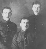 Group Photo– Left to Right:  John Taylor Dewar; service number 730016, unknown, William Robb Dewar; service number 53902. Brothers. Date and location of picture unknown.