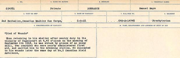 Circumstances of death registers– Source: Library and Archives Canada. CIRCUMSTANCES OF DEATH REGISTERS, FIRST WORLD WAR. Surnames: Don to Drzewiecki. Microform Sequence 29; Volume Number 31829_B016738. Reference RG150, 1992-93/314, 173. Page 307 of 1076.