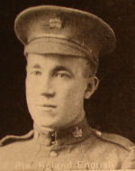Photo of Roland English– In memory of the men and women from the Waterloo area who went to war and did not come home. From the booklet, Peace Souvenir – Activities of Waterloo County in the Great War 1914 – 1918. From the Toronto Public Library collection.  Submitted for the project, Operation: Picture Me.