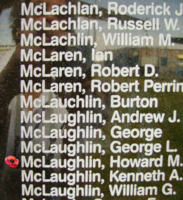 Memorial– Sergeant Howard Mark McLaughlin is also commemorated on the Bomber Command Memorial Wall in Nanton, AB … photo courtesy of Marg Liessens