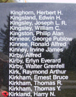Memorial– Flying Officer Harry Nettleton Kirkland is also commemorated on the Bomber Command Memorial Wall in Nanton, AB … photo courtesy of Marg Liessens
