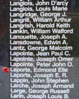 Memorial– Flying Officer Edmund Elie La Porte as commemorated on the Bomber Command Memorial Wall in Nanton, AB … photo courtesy of Marg Liessens