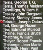 Memorial– Flying Officer Joseph Octave Arthur Remi Tetrault is commemorated on the Bomber Command Memorial Wall in Nanton, AB … photo courtesy of Marg Liessens
