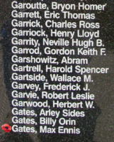 Memorial– Pilot Officer Max Ennis Gates is also commemorated on the Bomber Command Memorial Wall in Nanton, AB … photo courtesy of Marg Liessens