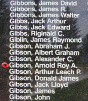 Memorial– Pilot Officer Arnold Roy Alexander Gibson is also commemorated on the Bomber Command Memorial Wall in Nanton, AB … photo courtesy of Marg Liessens