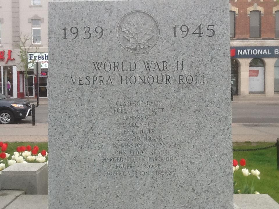 War Memorial– Vespra Cenotaph World War 2 Barrie, Ontario