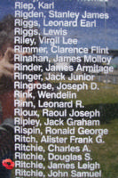 Memorial– Flying Officer James Leigh Ritchie is commemorated on the Bomber Command Memorial Wall in Nanton, AB … photo courtesy of Marg Liessens