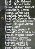 Memorial– Warrant Officer George Henry Stratford is commemorated on the Bomber Command Memorial Wall in Nanton, AB … photo courtesy of Marg Liessens