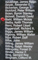 Memorial– Sergeant William McKay Biehl is also commemorated on the Bomber Command Memorial Wall in Nanton, AB … photo courtesy of Marg Liessens