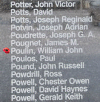 Memorial– Flight Sergeant William John Poulin is commemorated on the Bomber Command Memorial Wall in Nanton, AB … photo courtesy of Marg Liessens