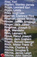 Memorial– Flying Officer John Samuel Ritchie is commemorated on the Bomber Command Memorial Wall in Nanton, AB … photo courtesy of Marg Liessens