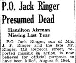 Newspaper Clipping– Source: Hamilton Spectator June 29, 1945