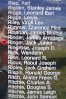 Memorial– Pilot Officer Jack Junior Ringer is commemorated on the Bomber Command Memorial Wall in Nanton, AB … photo courtesy of Marg Liessens