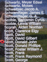 Memorial– Warrant Officer Donald John Scott is commemorated on the Bomber Command Memorial Wall in Nanton, AB … photo courtesy of Marg Liessens