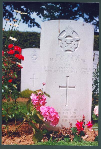 Grave Marker– F.A. Harold Andrew Westhaver K.I.A.