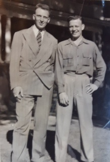 Photo of GEORGE RUSSELL BOYD– George Russell Boyd on left with his brother Jack Ross Boyd.  George died defending Les Mesnil crossroads. (His brother Jack served in the RCAF and after the war became a teacher.)