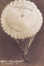 Photo of Gordon Comeau– This is a post card that Private Gordon Augustus COMEAU sent to his mother while training at Ft. Benning, GA.  Private G.A. COMEAU wrote on the back that it was his first jump.
