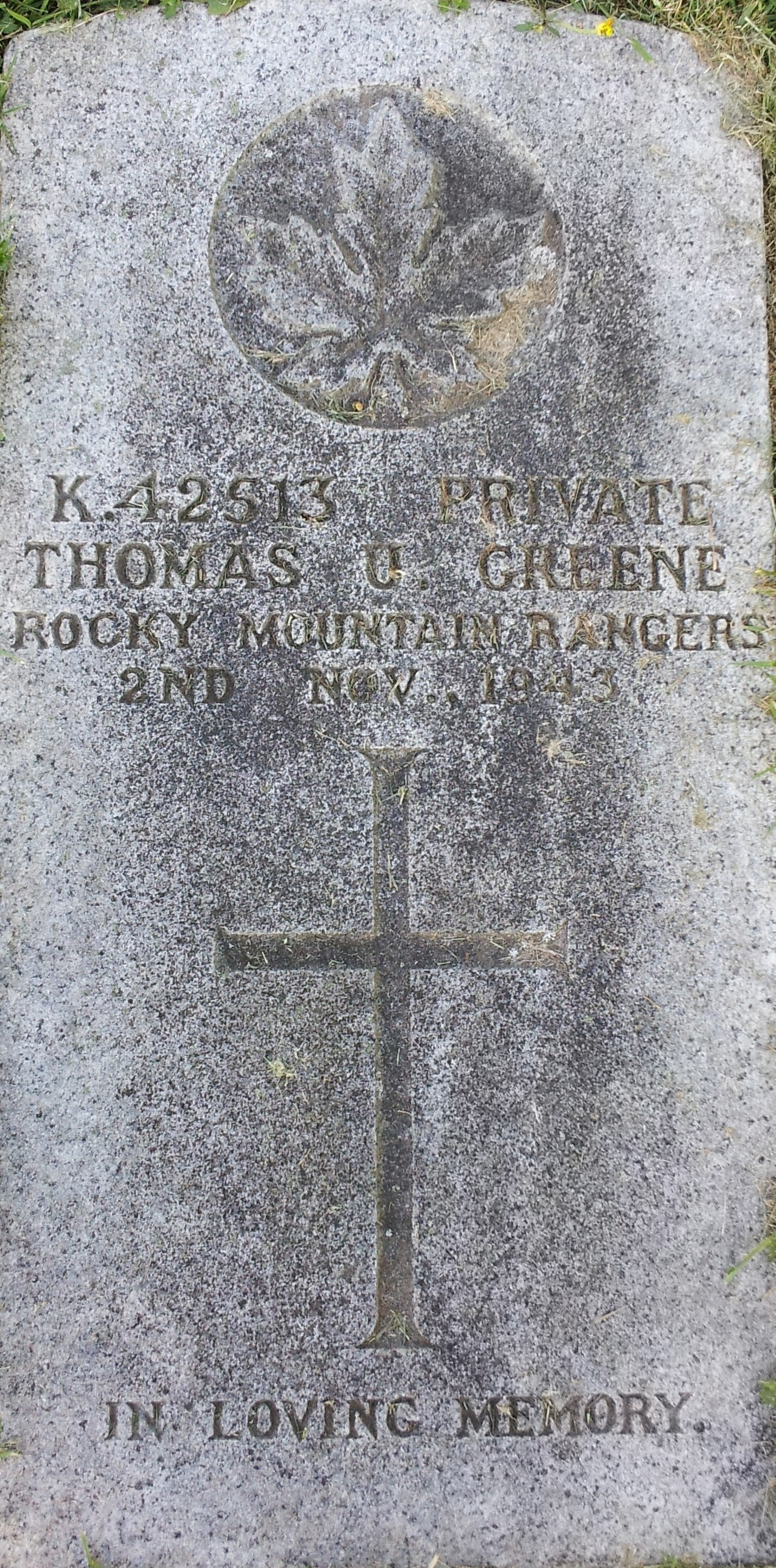 Grave Marker– Gravestone of Thomas U. Greene taken at Nanaimo Municipal Cemetery.