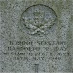 Grave marker– Grave stone of Randolph Percy Day of the Westminster Regiment(Motor) who died while in the service of Canada on May 16th 1940 Age 54.