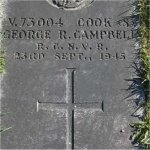Grave Marker– Closer view of the grave of V-73004 Cook (S) George Rowland Campbell who served with the Royal Canadian Naval Volunteer Reserve on the Navy land base H.M.C.S. Discovery.
