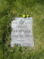 Grave Marker– Pvt. K-53859 Howard  P. McCabe R.C.A.S.C.  in the Mountain View cemetery of Vancouver BC.  Husband of Mattie McCabe, of Vancouver.