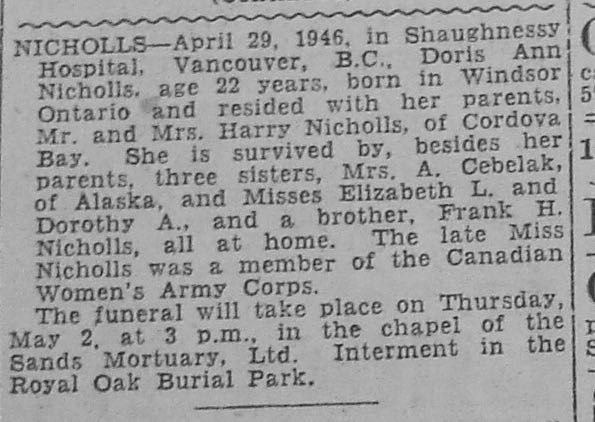 Newspaper clipping– Obituary