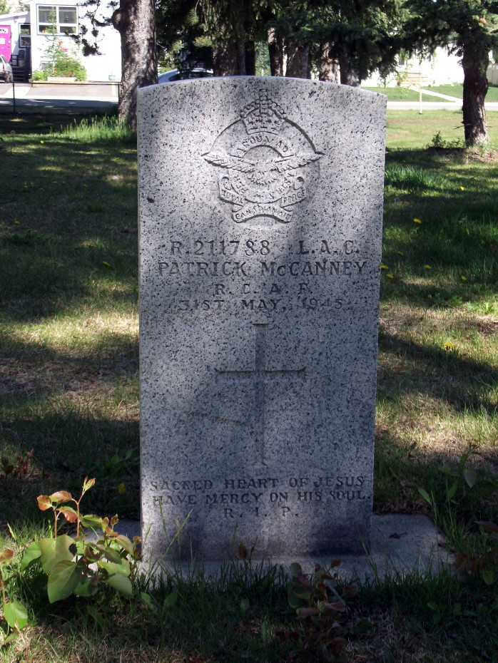 Grave Marker– Patrick McCanney's headstone in the Pioneer Cemetery at Whitehorse, Yukon.