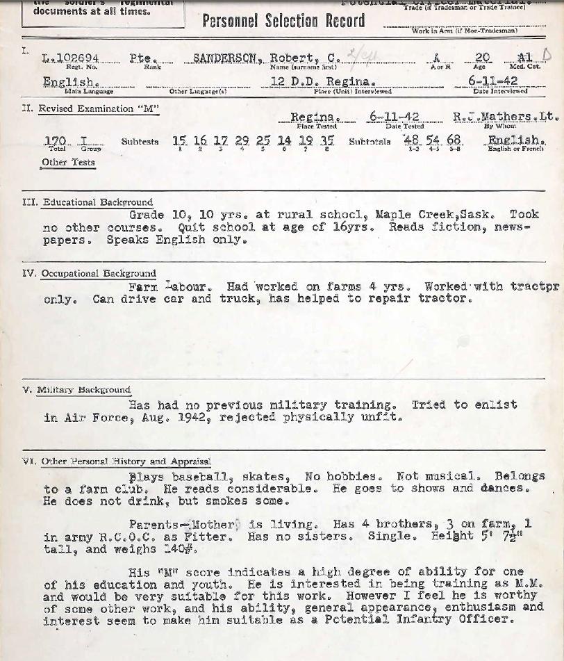 Personnel Selection Form