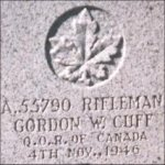 Grave Marker– This photo of Rfn Cuff's gravemarker was taken in 1999.