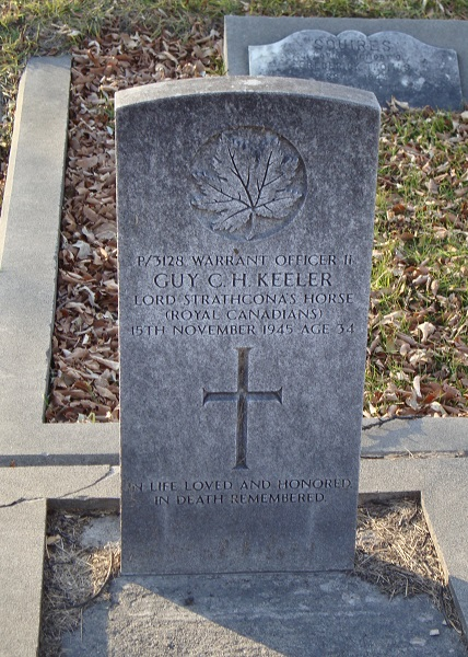 Grave marker– WO II Guy Charles Herbert Keeler, grave marker