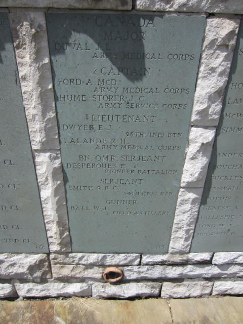 Inscription– Section of Hollybrook Memorial showing Captain Ford's name.