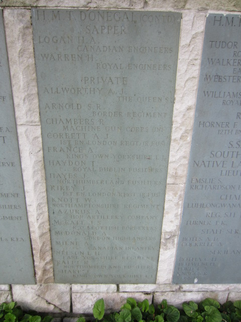 Inscription– Panel on the Hollybrook Memorial showing Sapper Logan's name