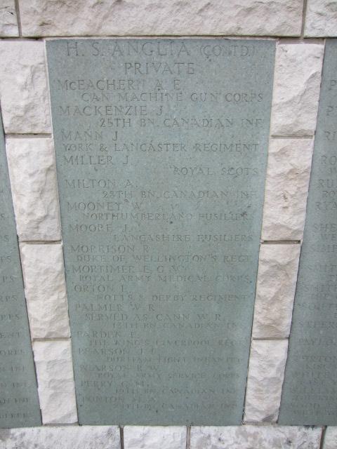 Memorial– Inscription on memorial at Hollybrook Cemetery, Southampton, UK showing Arthur Milton's name. Image taken 10 June 2014.