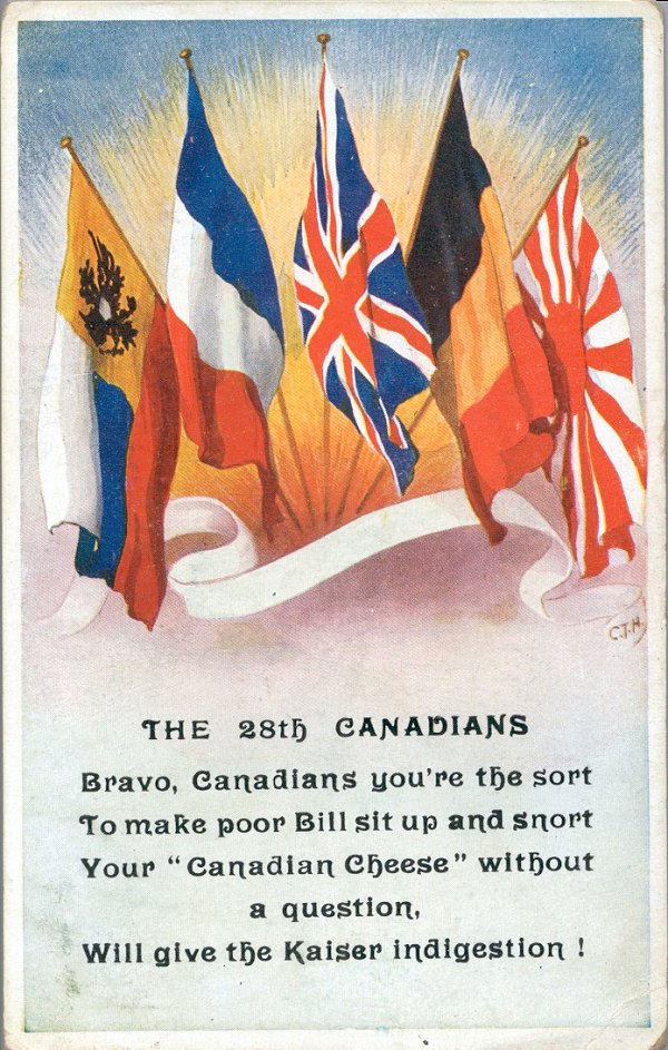 Post Card– 28th Battalion post card from World War I (sent originally by fellow 28th Btn soldier Pte J. I. Raeside). Image submitted by T. C. Tulloch.