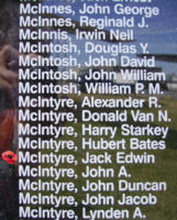 Memorial– Pilot Officer Jack Edwin McIntyre is also commemorated on the Bomber Command Memorial Wall in Nanton, AB … photo courtesy of Marg Liessens