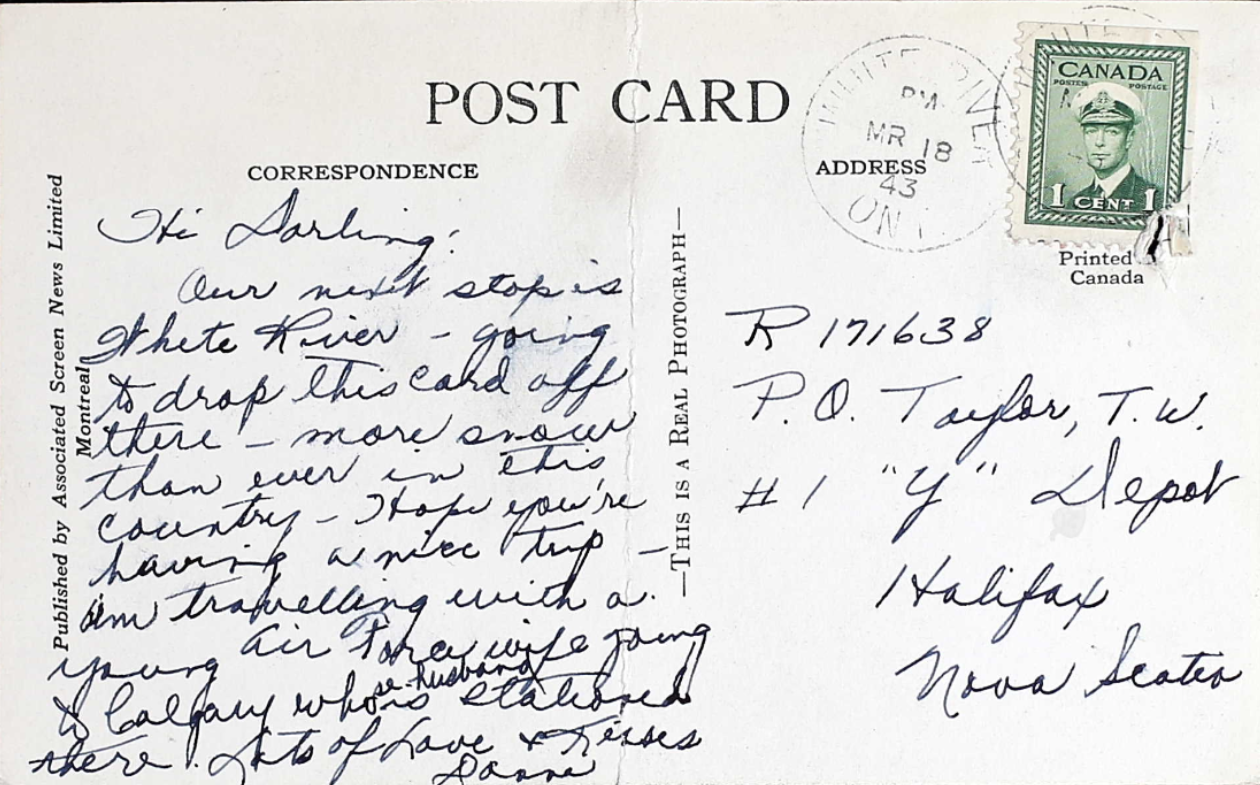 Photo– Post card sent to Tom from his wife and found in his military service file. Submitted for the project Operation Picture Me