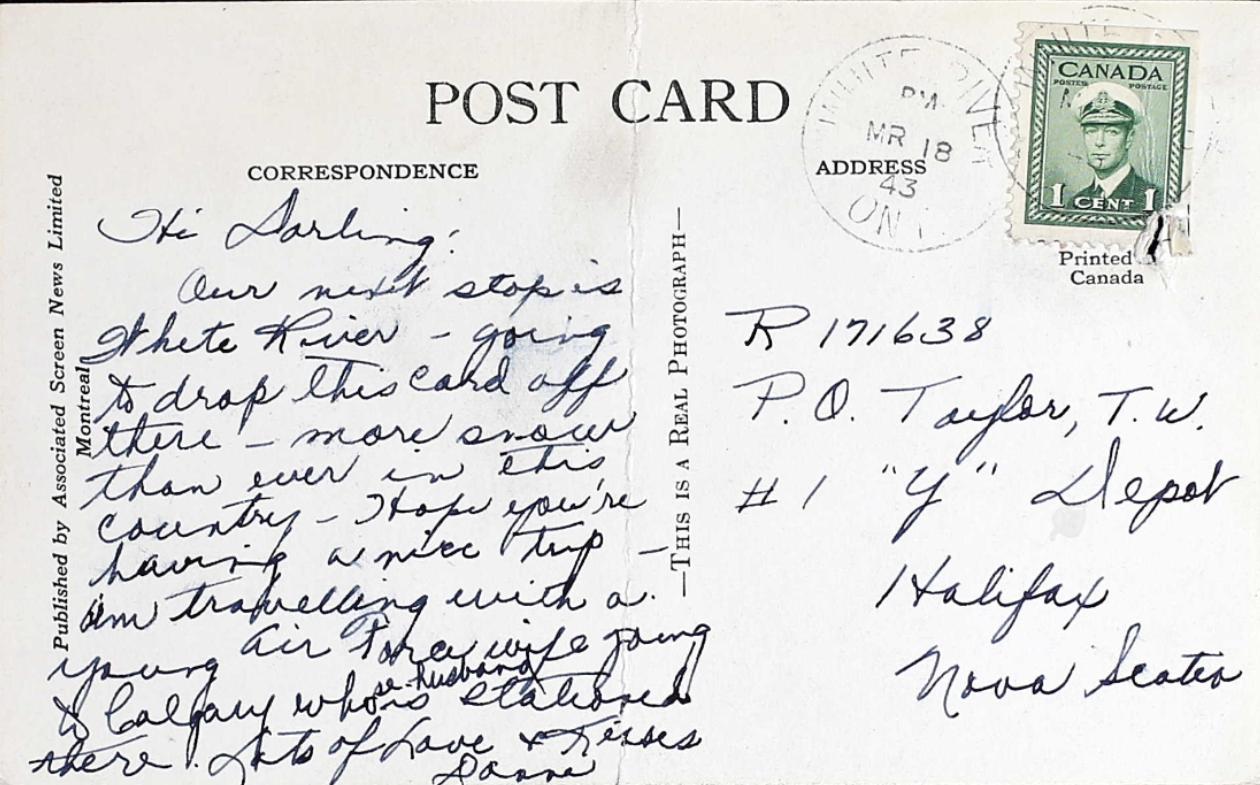 Photo – Carte postale envoyée à Tom par sa femme et trouvée dans son dossier de service militaire. Soumis pour le projet Operation Picture Me