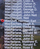 Memorial– Pilot Officer Herman Earl MacDuff is also commemorated on the Bomber Command Memorial Wall in Nanton, AB … photo courtesy of Marg Liessens