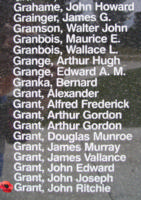 Memorial– Squadron Leader Flight Engineer John Ritchie Grant is also commemorated on the Bomber Command Memorial Wall in Nanton, AB … photo courtesy of Marg Liessens