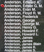 Memorial– Pilot Officer Edwin Graham Milton Anderson is also commemorated on the Bomber Command Memorial Wall in Nanton, AB … photo courtesy of Marg Liessens