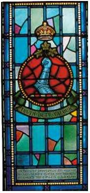 Memorial Stained Glass– Ex-cadets are named on the Memorial Arch at the Royal Military College of Canada in Kingston, Ontario and in memorial stained glass windows to fallen comrades. 1106 Lieut Daniel Lionel Teed MC was the son of Mariner G. Teed and Margaret A. Teed, of St. John, New Brunswick. He served with the Canadian Field Artillery, 9th Bde. He died 1 Sep 1918. He was buried in the Monchy British Cemetery in Pas de Calais, France