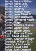 Memorial– Pilot Officer Albert William Tuuri as commemorated on the Bomber Command Memorial Wall in Nanton, AB … photo courtesy of Marg Liessens