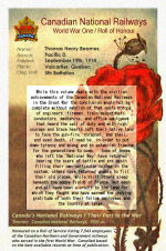 Roll of Honour– Canadian National Railways - World War One Roll of Honour.  Pte. Thomas Henry Beames enlisted in September 1914 with the first Canadian Contingent at Valcartier, Quebec.  He described his occupation on his military attestation form as a Civil Engineer.  He was born in Bengal, India.