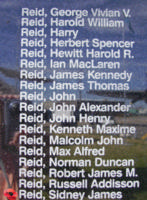 Memorial– Flying Officer Sidney James Reid is commemorated on the Bomber Command Memorial Wall in Nanton, AB … photo courtesy of Marg Liessens