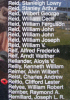 Memorial– Flying Officer Clifford Lester Reitlo is commemorated on the Bomber Command Memorial Wall in Nanton, AB … photo courtesy of Marg Liessens