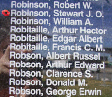 Memorial– Pilot Officer Stewart James Olson Robinson is also commemorated on the Bomber Command Memorial Wall in Nanton, AB … photo courtesy of Marg Liessens